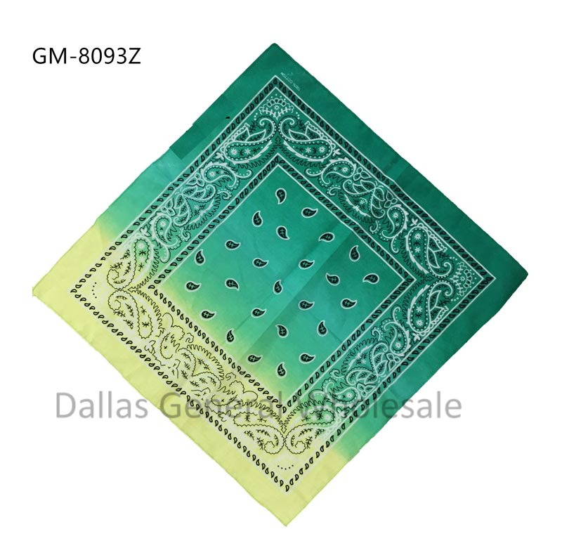 Combine Green Yellow Paisley Bandannas Wholesale