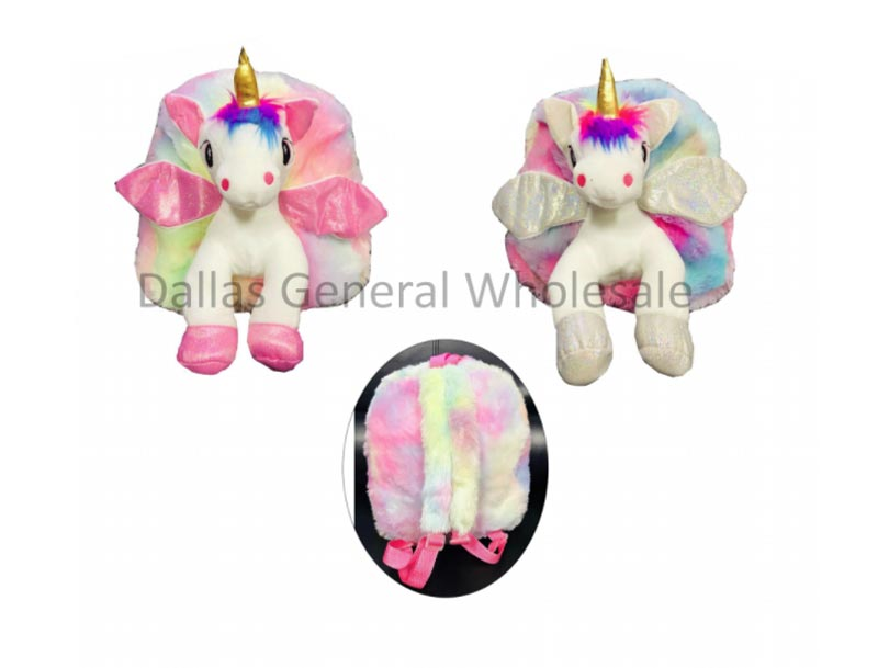 Girls Fluffy Unicorn Backpacks Wholesale