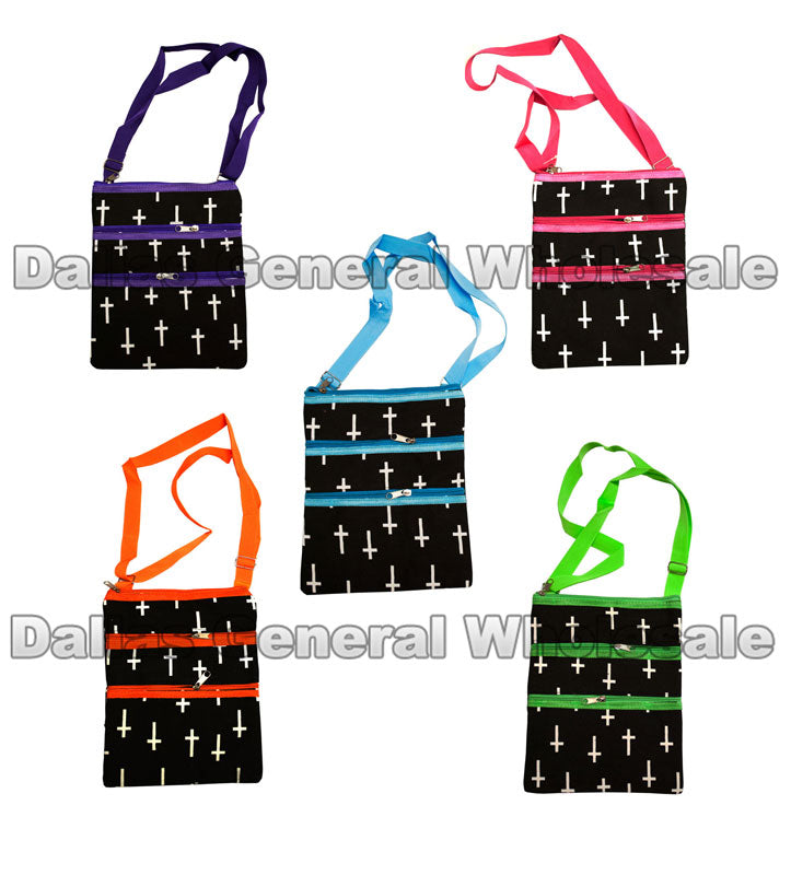 Cross Print Girls Shoulder Bags Wholesale - Dallas General Wholesale