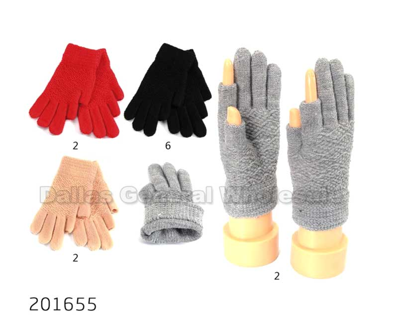 Ladies 2 Fingerless Insulated Gloves Wholesale - Dallas General Wholesale