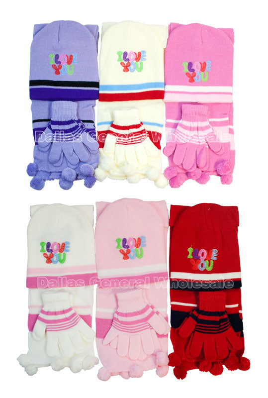 Little Girls I Love You Beanie Gloves Scarf Set Wholesale - Dallas General Wholesale