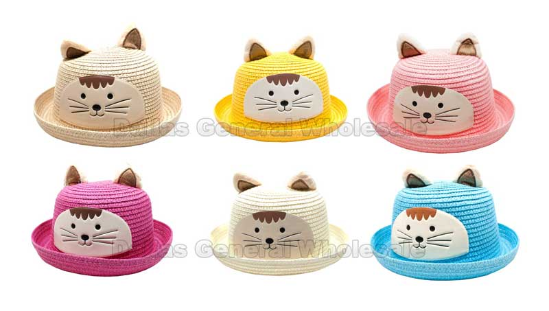 Cat Ear Kids Straw Hats Wholesale - Dallas General Wholesale