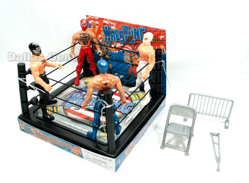 Toy Wrestlers with Ring Play Set Wholesale - Dallas General Wholesale