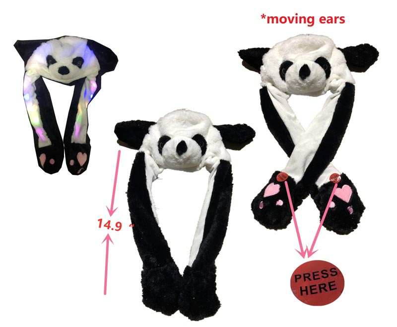 Kids Light Up Ear Moving Panda Hats Wholesale - Dallas General Wholesale