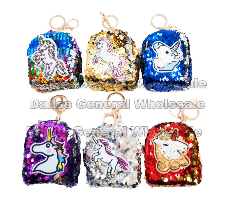 Glitter Scale Unicorn Design Key Chain Purses - Dallas General Wholesale