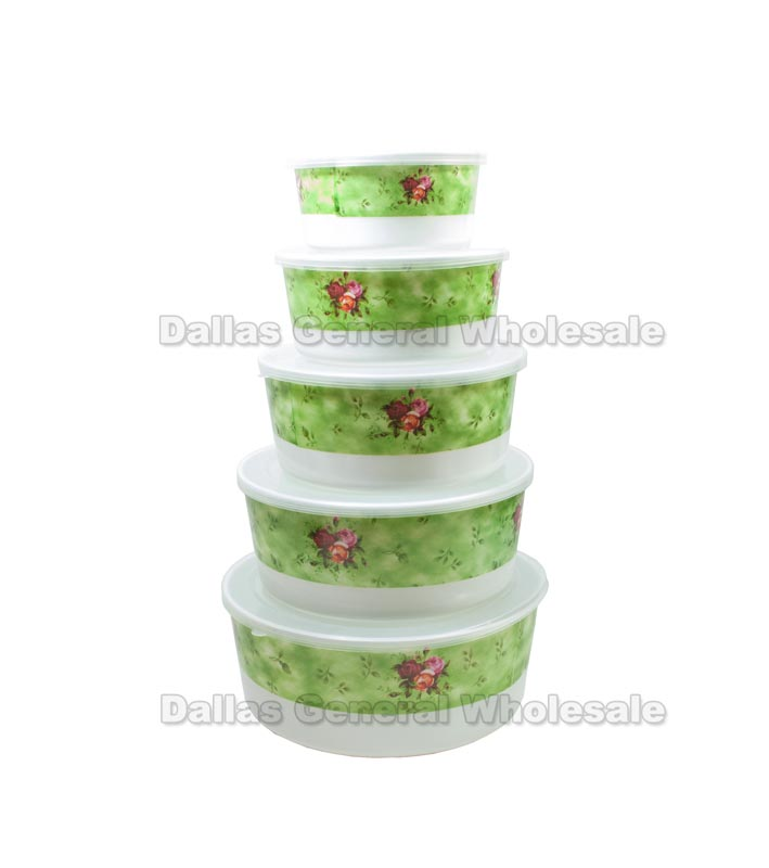 5 PC Food Storage Bowls w/ Lids Wholesale - Dallas General Wholesale