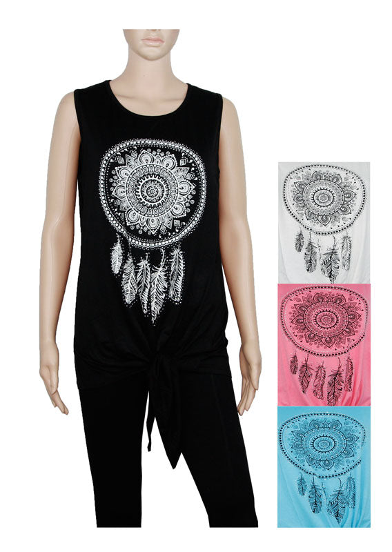 Dream Catcher Sleeveless Blouses Wholesale - Dallas General Wholesale