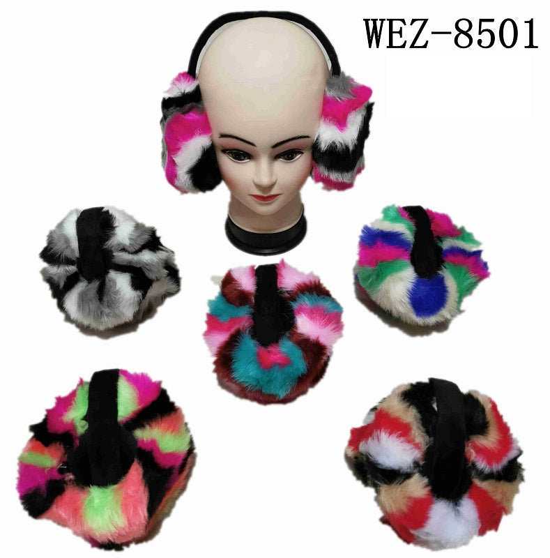 Rainbow Fuzzy Earmuffs Wholesale - Dallas General Wholesale