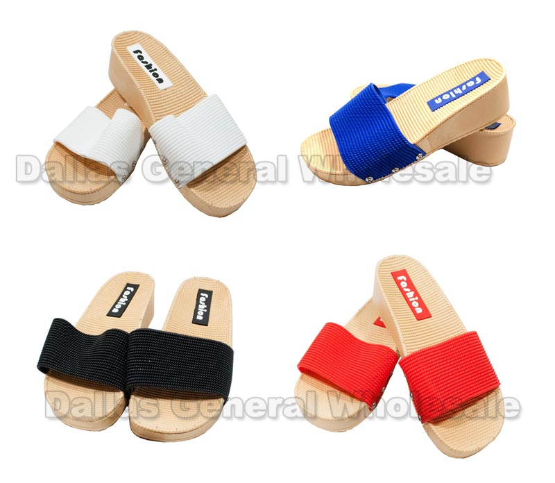 "Laides 2"" Heels Slide On Sandals Wholesale"