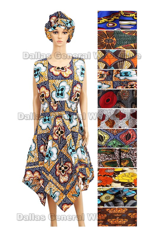 African Kaftan Gowns with Head Wrap Set Wholesale