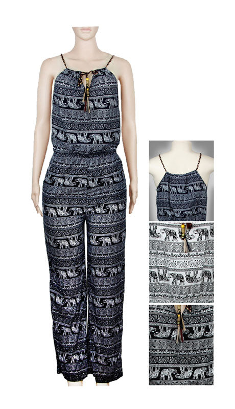 Girls Casual Elephant Printed Jumpsuits Wholesale - Dallas General Wholesale
