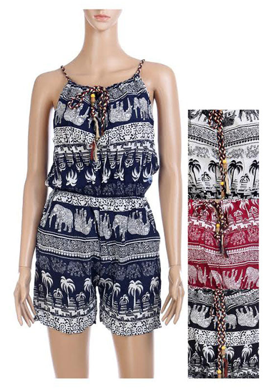 Girls Casual Elephant Printed Rompers Wholesale - Dallas General Wholesale