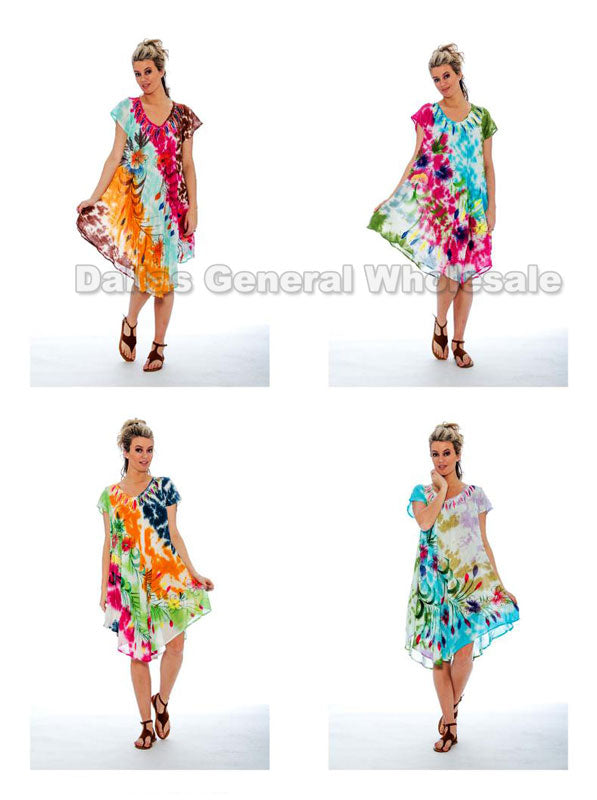 Rayon Tie Dye Dresses with Sleeves Wholesale - Dallas General Wholesale