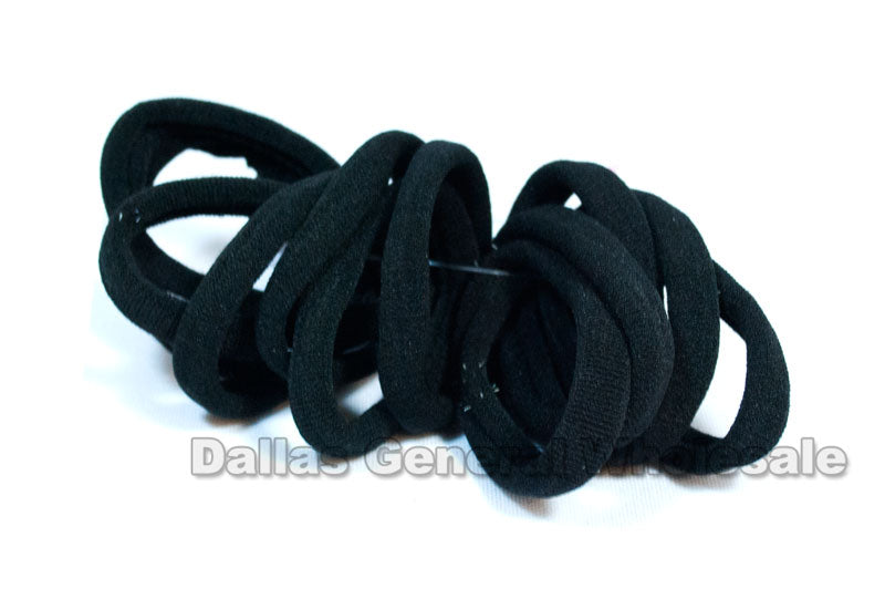 12 PC Black Elastic Hair Ties Wholesale - Dallas General Wholesale