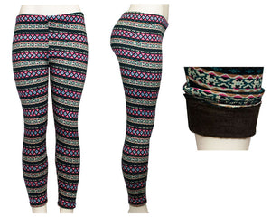 Women Fashion Printed Thermal Fur Lining Leggings Wholesale - Dallas General Wholesale