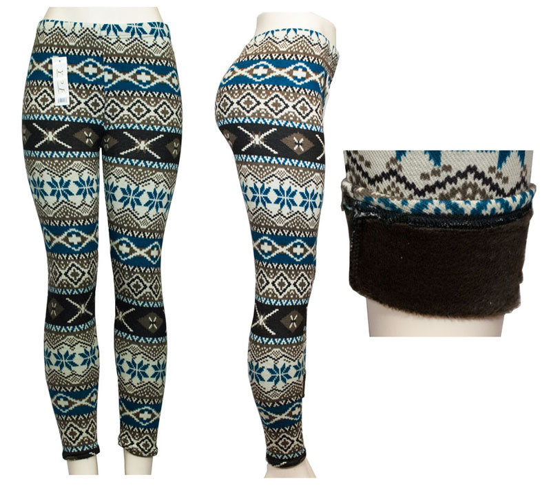 Womens Fashion Printed Thermal Fur Lining Leggings Wholesale - Dallas General Wholesale