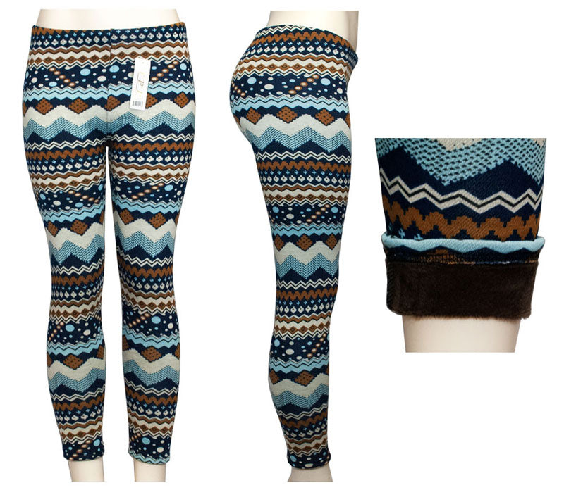 Ladies Printed Pull On Fashion Thermal Leggings Wholesale - Dallas General Wholesale