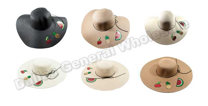 Fruit Floppy Straw Beach Hats Wholesale - Dallas General Wholesale