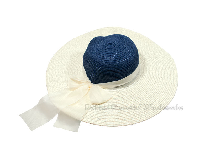 Two Tone Beach Floppy Straw Hats Wholesale - Dallas General Wholesale