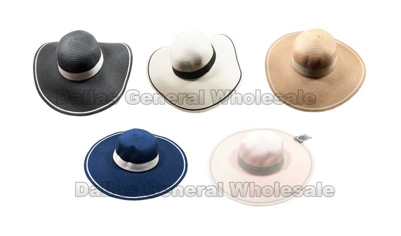 Ladies Simple Beach Floppy Straw Hats Wholesale - Dallas General Wholesale