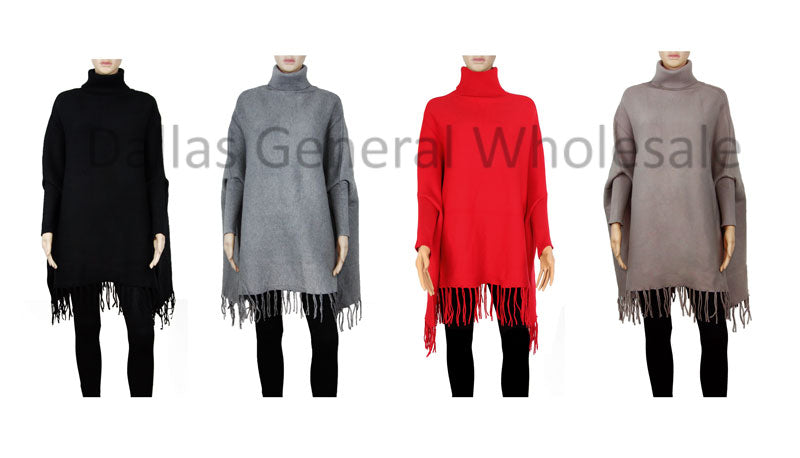 Ladies Turtle Neck Sweater Ponchos Wholesale