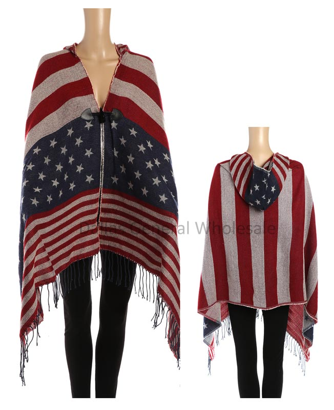 Fashion USA Flag Cardigan Ponchos Wholesale