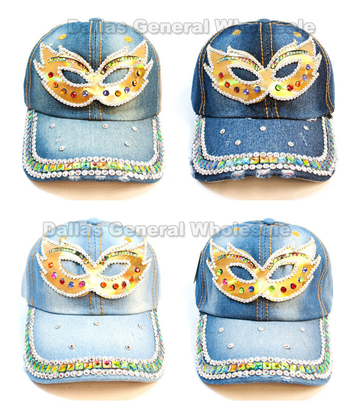 """Masquerade Mask"" Studded Fashion Denim Caps Wholesale - Dallas General Wholesale"