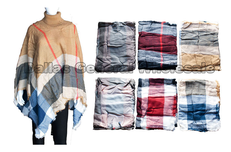 Ladies Classy Patchwork Ponchos with Collars Wholesale - Dallas General Wholesale