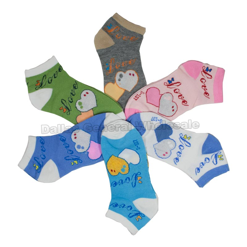 Girls Trendy Hearts Designs Ankle Socks Wholesale - Dallas General Wholesale