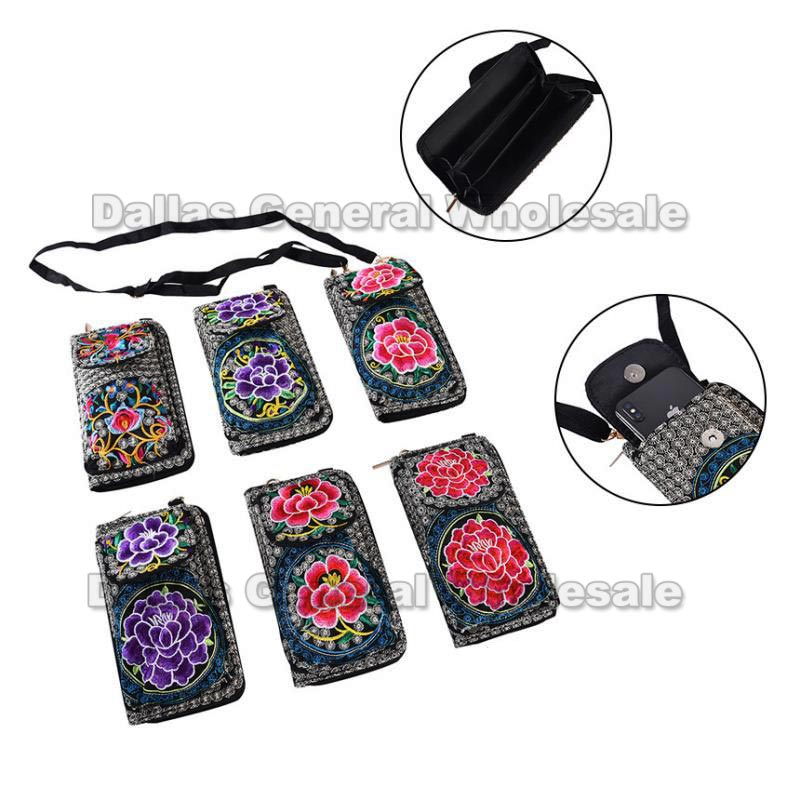 Embroidered Fashion Wallets w/ Phone Pocket Wholesale