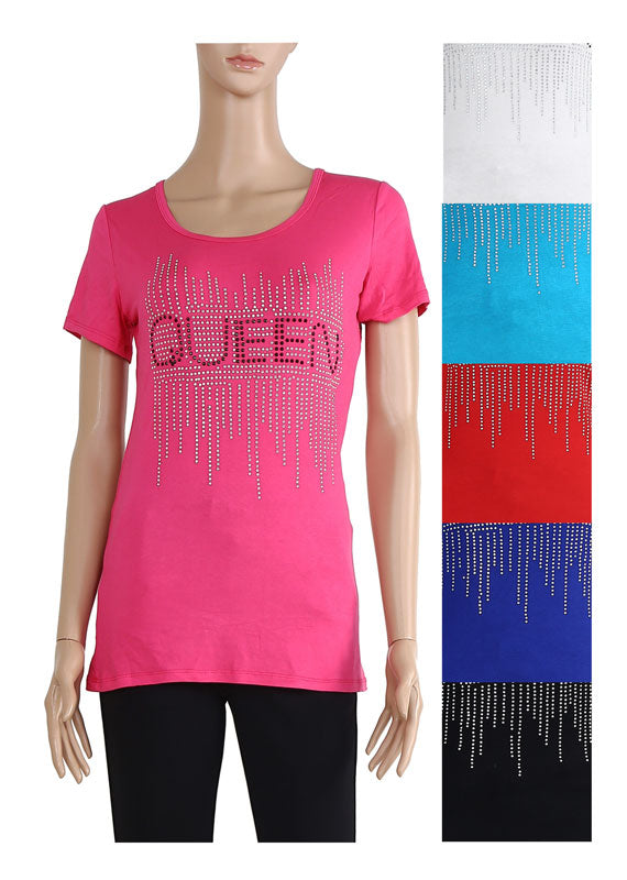 "Ladies Studded ""Queen"" Tops Wholesale - Dallas General Wholesale"