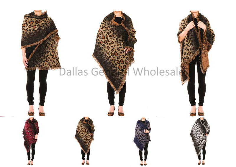 Cheetah 2-in-1 Blanket Scarf Ponchos Wholesale