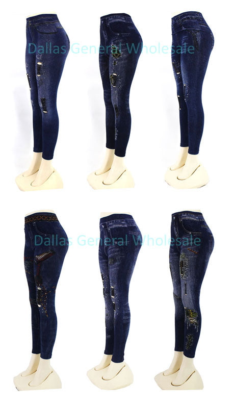 Ladies Fashion Pull On Cut Out Jeggings Wholesale