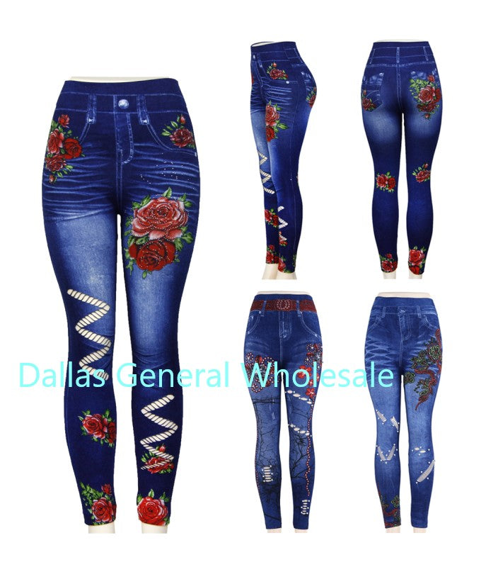 Ladies Printed Cut Out Jeggings Wholesale - Dallas General Wholesale
