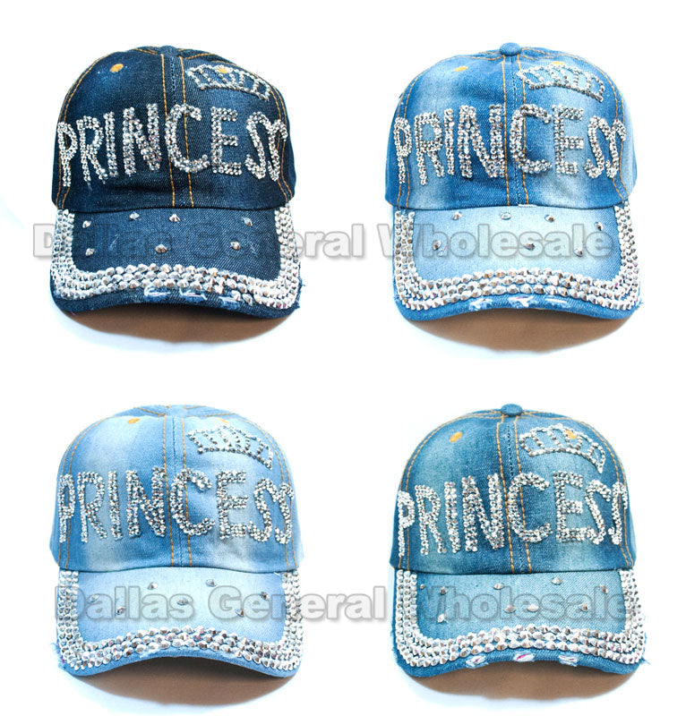 """Princess"" Fashion Denim Caps Wholesale - Dallas General Wholesale"