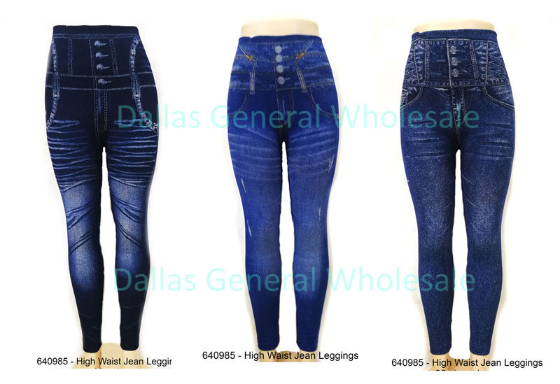 Ladies Fashion Pull On High Wasit Jeggings Wholesale