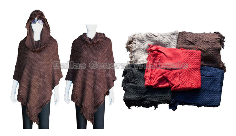 Ladies Fashionable Hoodie Poncho Wholesale - Dallas General Wholesale