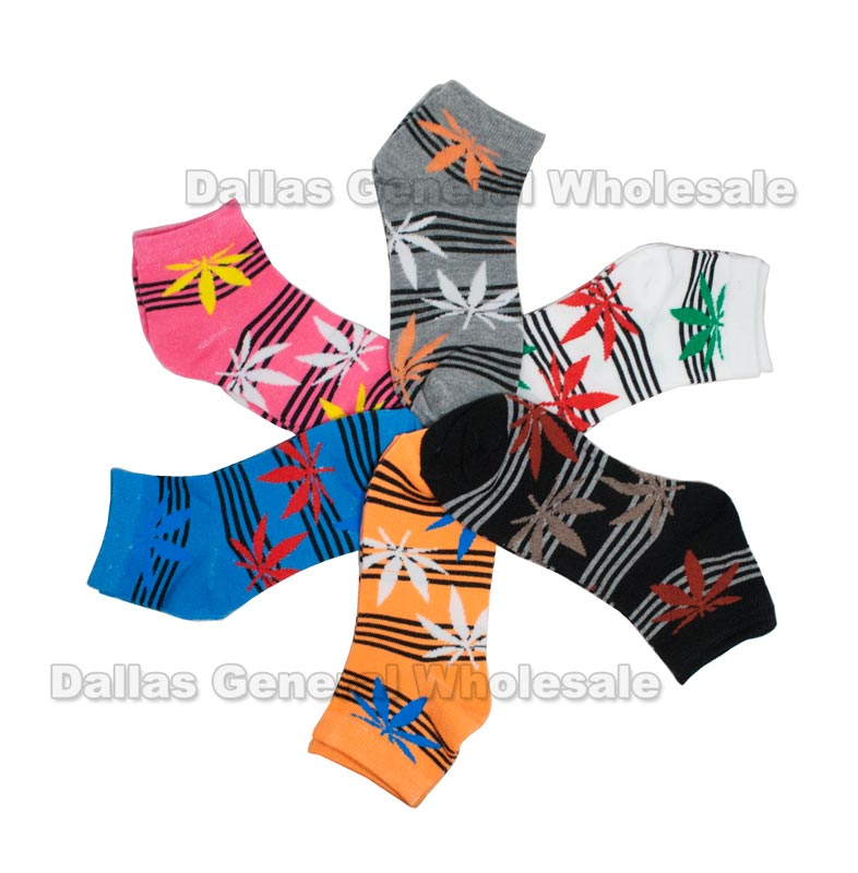 Ladies Funky Marijuana Ankle Socks Wholesale