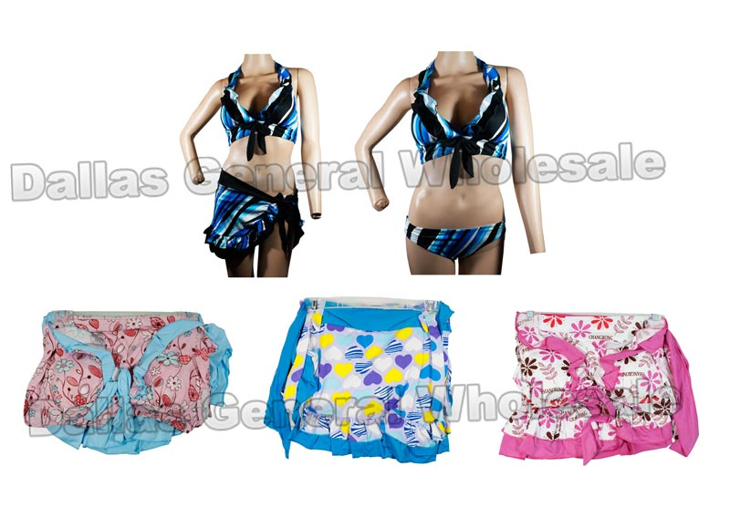 3 PC Bikini Swimsuits with Cover Wholesale - Dallas General Wholesale