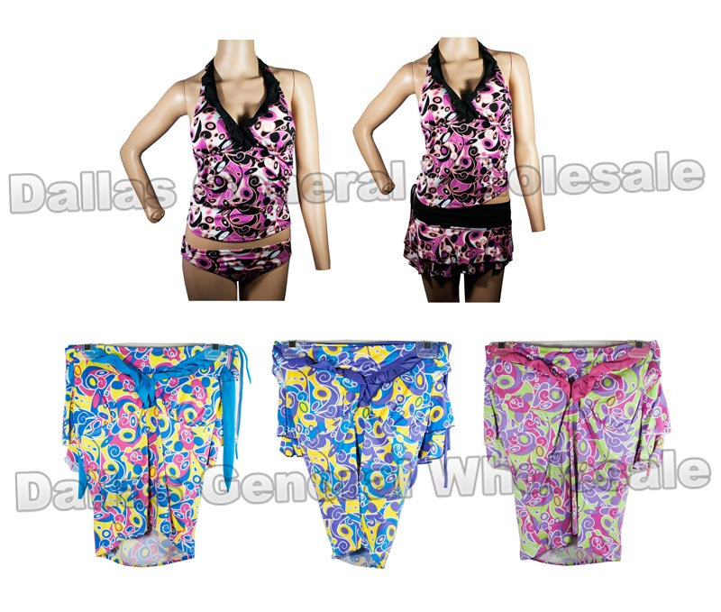 3 PC Tank Top Swimsuits with Cover Wholesale - Dallas General Wholesale