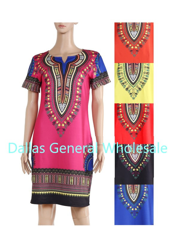 Dashiki Style Short Dresses Wholesale