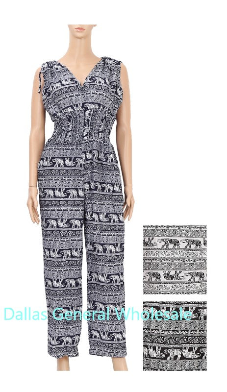 Casual Elephant Printed Jumpsuits Wholesale