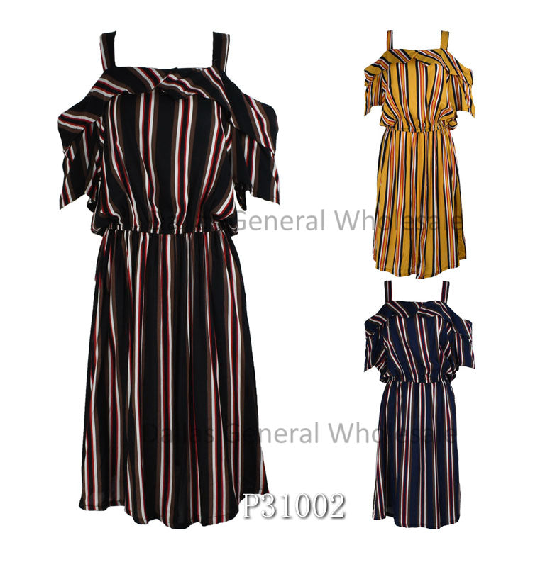 Ladies Straight Shoulder Sun Dress Wholesale
