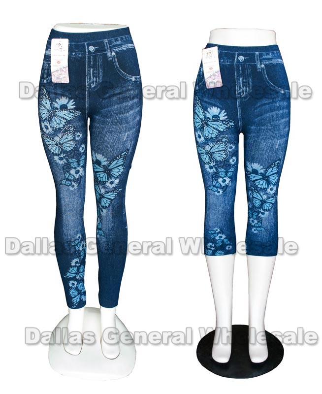 Ladies Butterfly Pull On Jeggings Wholesale