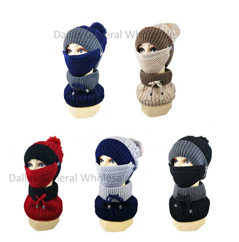 Women Fur Lining Beanie w/ Scarf & Mask Set Wholesale - Dallas General Wholesale