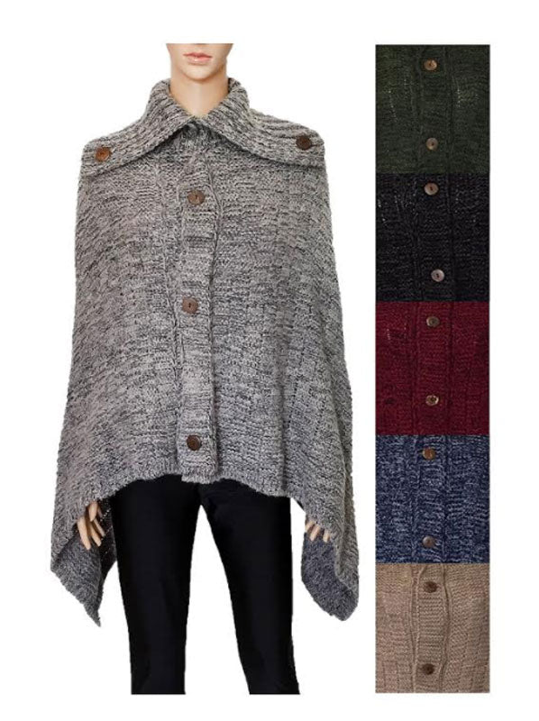 Knitted Winter Fashion Ponchos Wholesale - Dallas General Wholesale