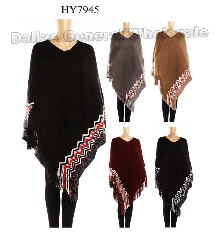 Ladies Fashion Sweater Ponchos Wholesale - Dallas General Wholesale