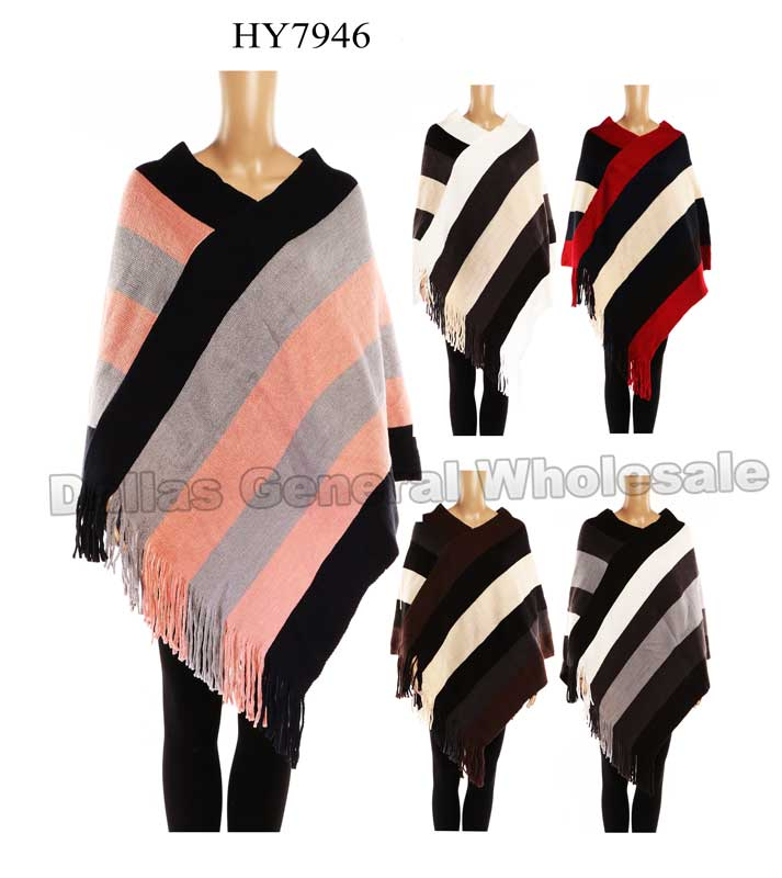 Ladies Stripes Sweater Ponchos Wholesale - Dallas General Wholesale