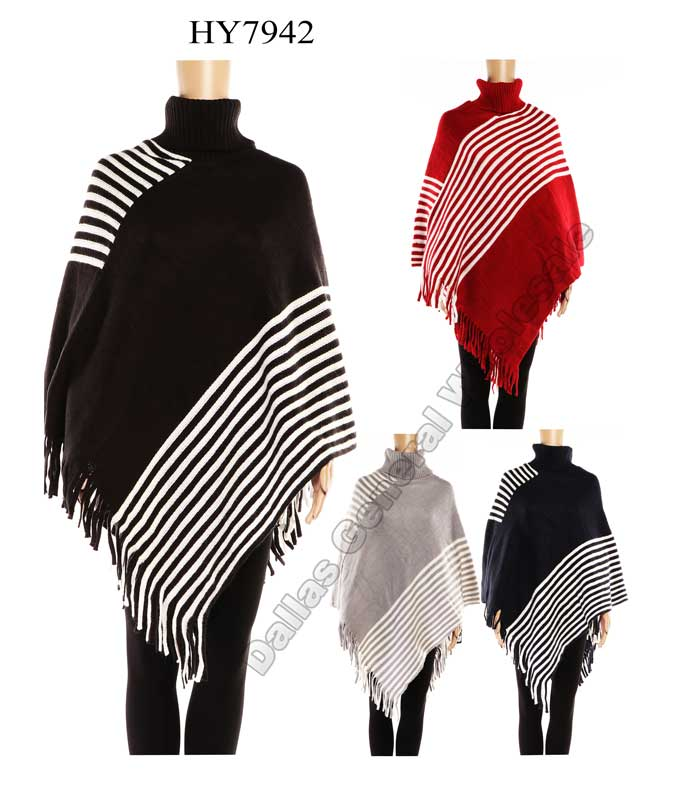 Women Fashion Turtle Neck Ponchos Wholesale - Dallas General Wholesale