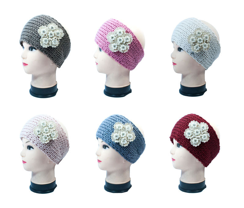 Pearl Flower Knitted Winter Headbands Wholesale - Dallas General Wholesale